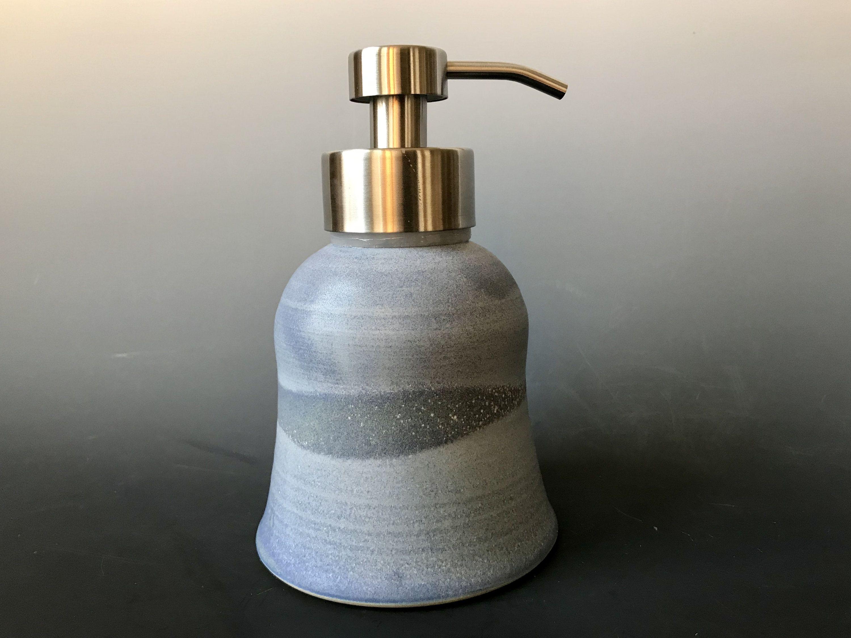 Extra Large Foaming Ceramic Soap Dispenser Matte Blue Glaze With White Specks Stainless Steel Foaming Pump Whee In 2020 Ceramic Soap Dispenser Foamer Modern Pottery