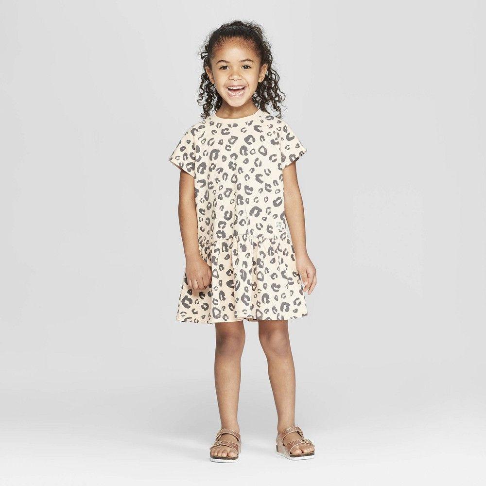 9c8908d84fe Toddler Girls  Short Sleeve Leopard Peplum T-Shirt Dress - art class Pink 5T
