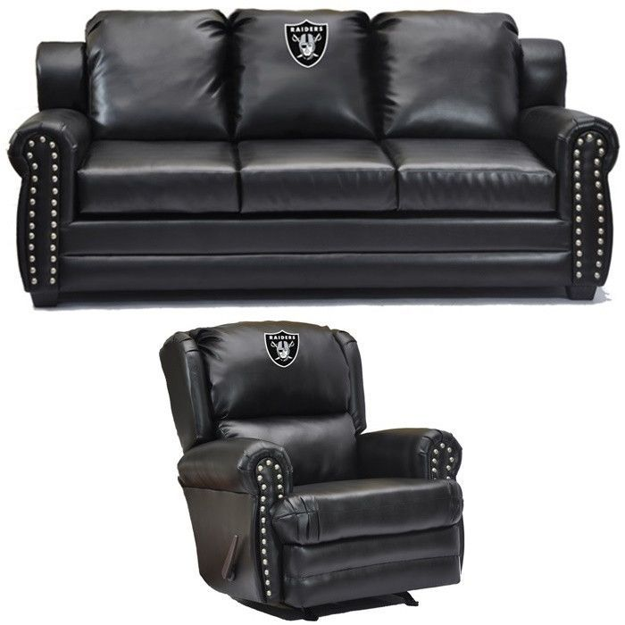 Oakland Raiders NFL Coach Leather Furniture Set. Visit SportsFansPlus.com  For Discount Coupon.
