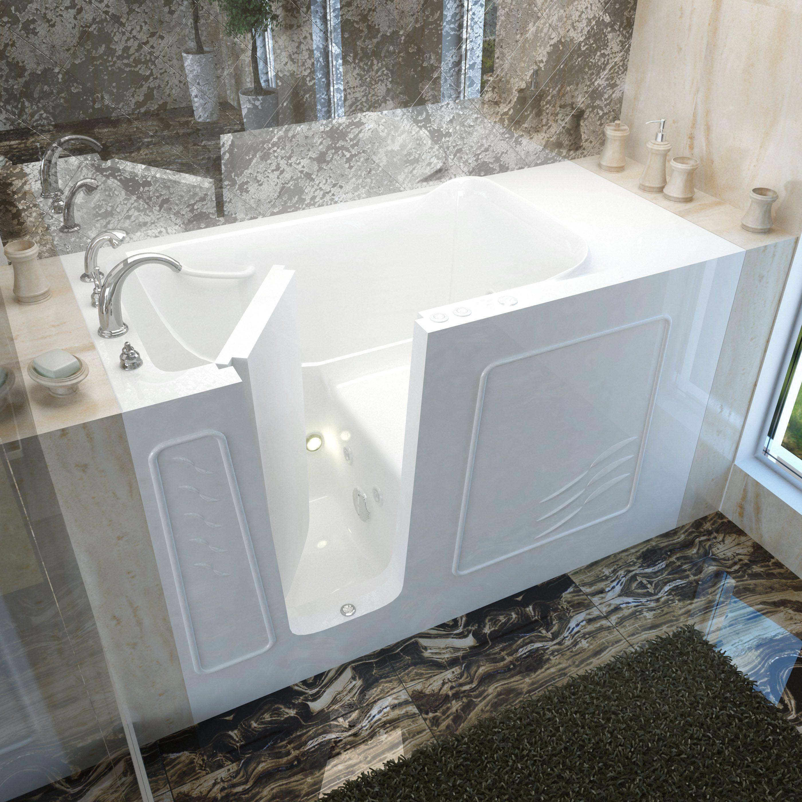 MediTub 30x60-inch Left Drain White Whirlpool Jetted Walk-In Bathtub ...