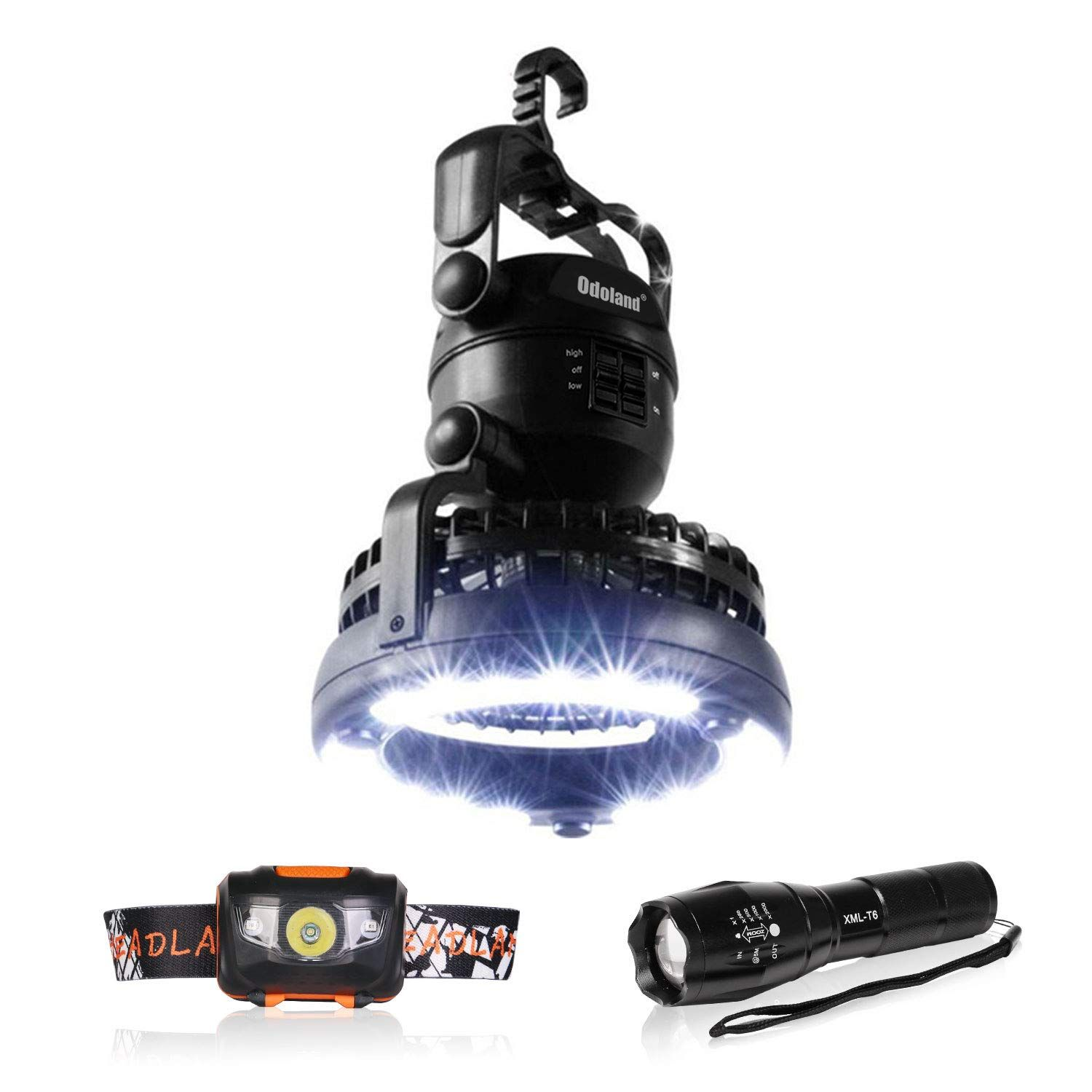 LED Flashlight and Headlamp Perfect for Outdoor Hiking Fishing Camping and Hurricane Emergency Kit Odoland 3-in-1 Portable LED Camping Lantern with Ceiling Fan