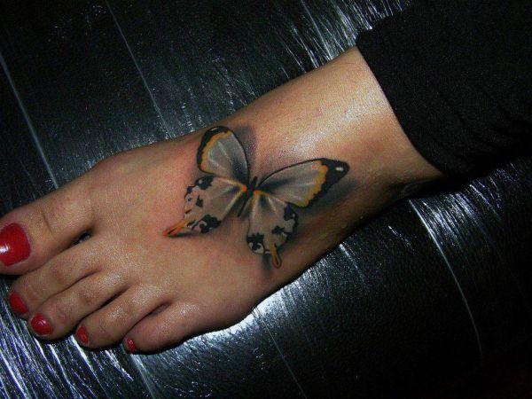 Tatuaże Na Stopie Motyl 3d Tattoos Tatuaże Tatuaże