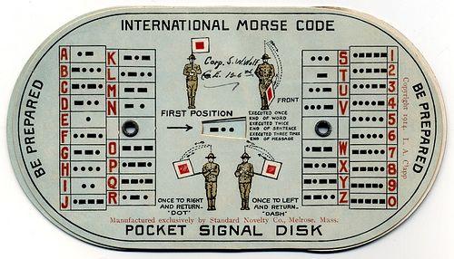 International Morse Code Pocket Signal Disk Morse code and Tattoo - sample morse code chart