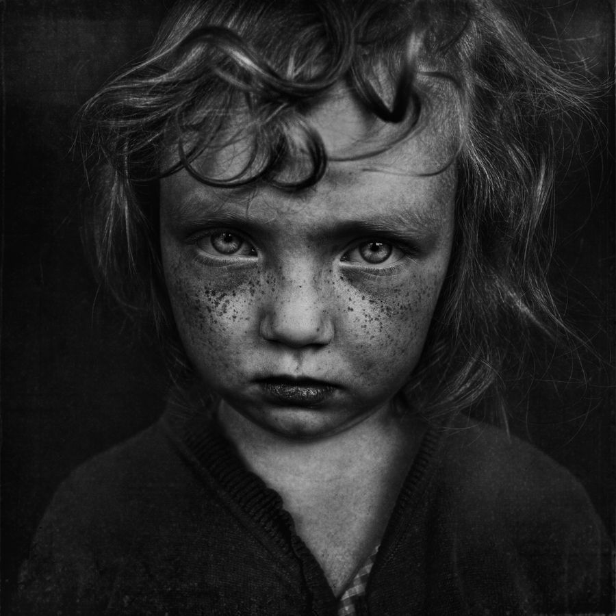 A truly breathtaking black and white portrait of a young girl the emotions in this image are incredible and her eyes speak volumes image by lee jeffries