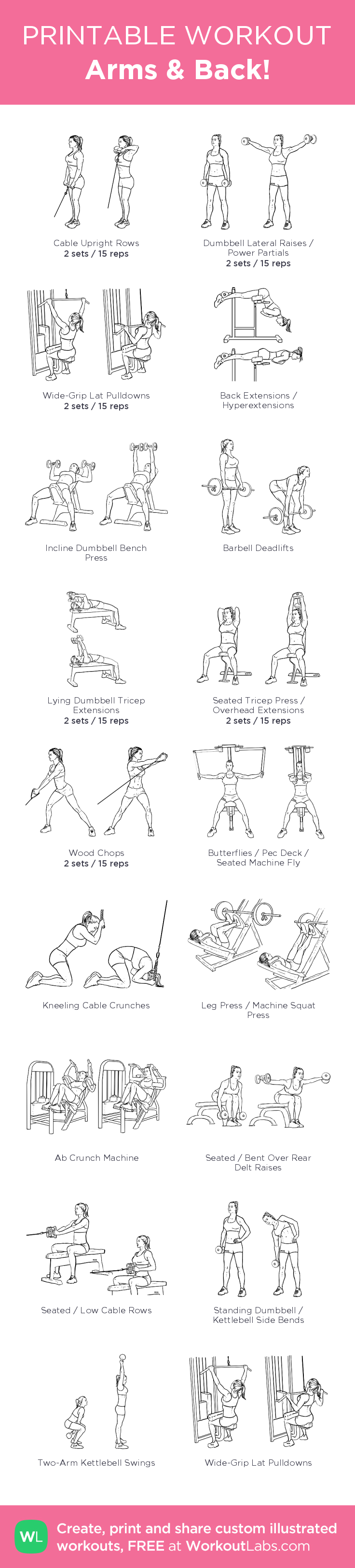 Arms & Back! – illustrated exercise plan created at WorkoutLabs.com • Click for a printable PDF and to build your own #customworkout