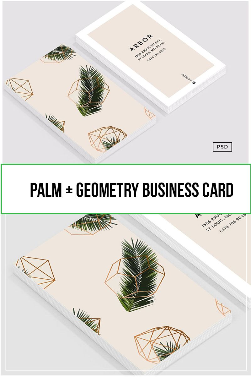 Palm Geometry Business Card Business Cards Simple Etsy Business Cards Modern Business Cards