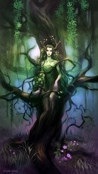 """My Dryad concept for the game """"Spirits of Mystery - Song of the Phoenix""""."""