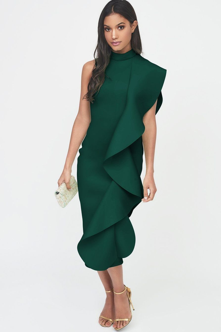 343b0896f Green Signature Multi Scuba Frill Midi Dress. Visit. Saved by. Lavish Alice