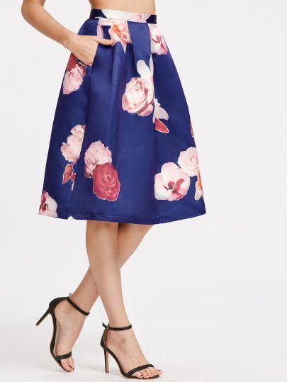 e40a0b811a Falda plisada con estampado de rosa - azul
