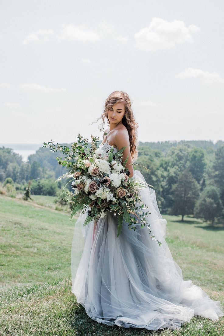 Fine art ethereal bride with french blue tulle wedding gown dress