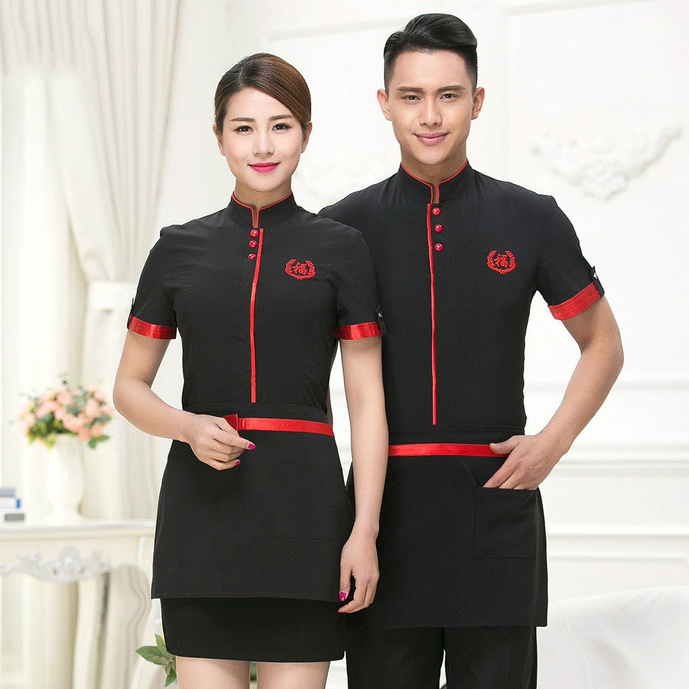 Hotel Work Clothing Fall/winter Women Long Sleeve Vintage Uniform Chinese Traditional Restaurant Waiter Shirt+apron Set Sales Great Varieties Home
