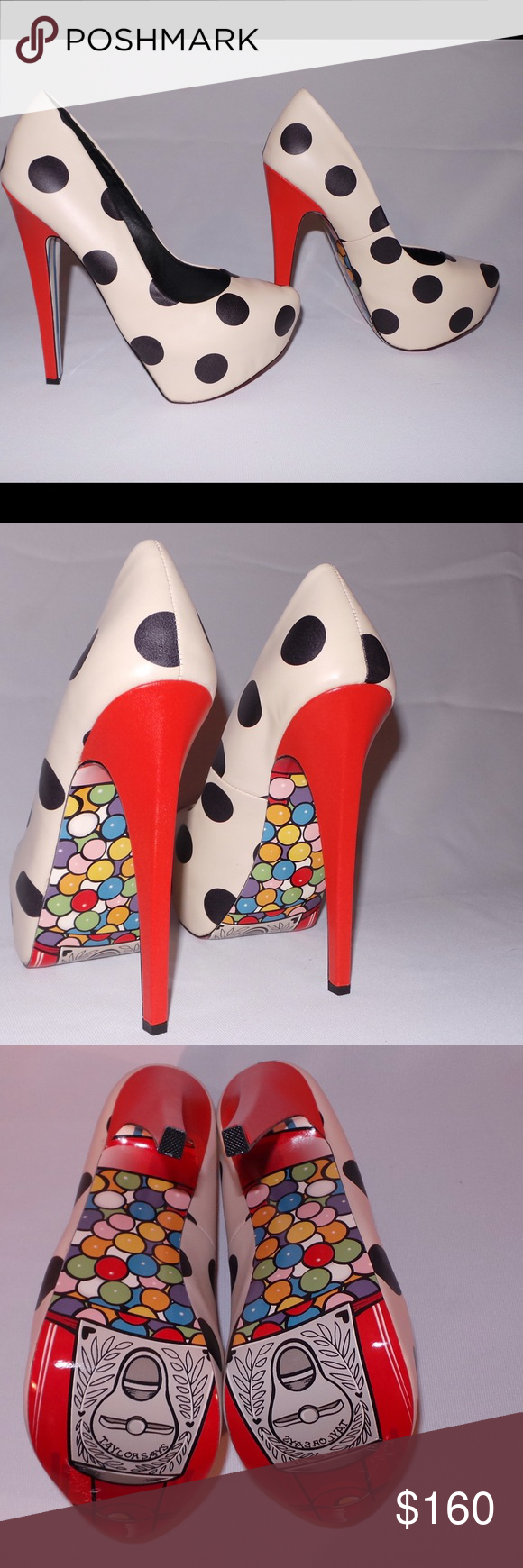 TaylorSays Dotties-Cream, Black & Red-Orange (NIB) Leather- polka dots with artwork print on the sole of a cute gum ball machine.   5.5 inch heel with 1.5 inch platform.  Brand new in box.  Also comes with branded satin shoe bag. TaylorSays Shoes Heels