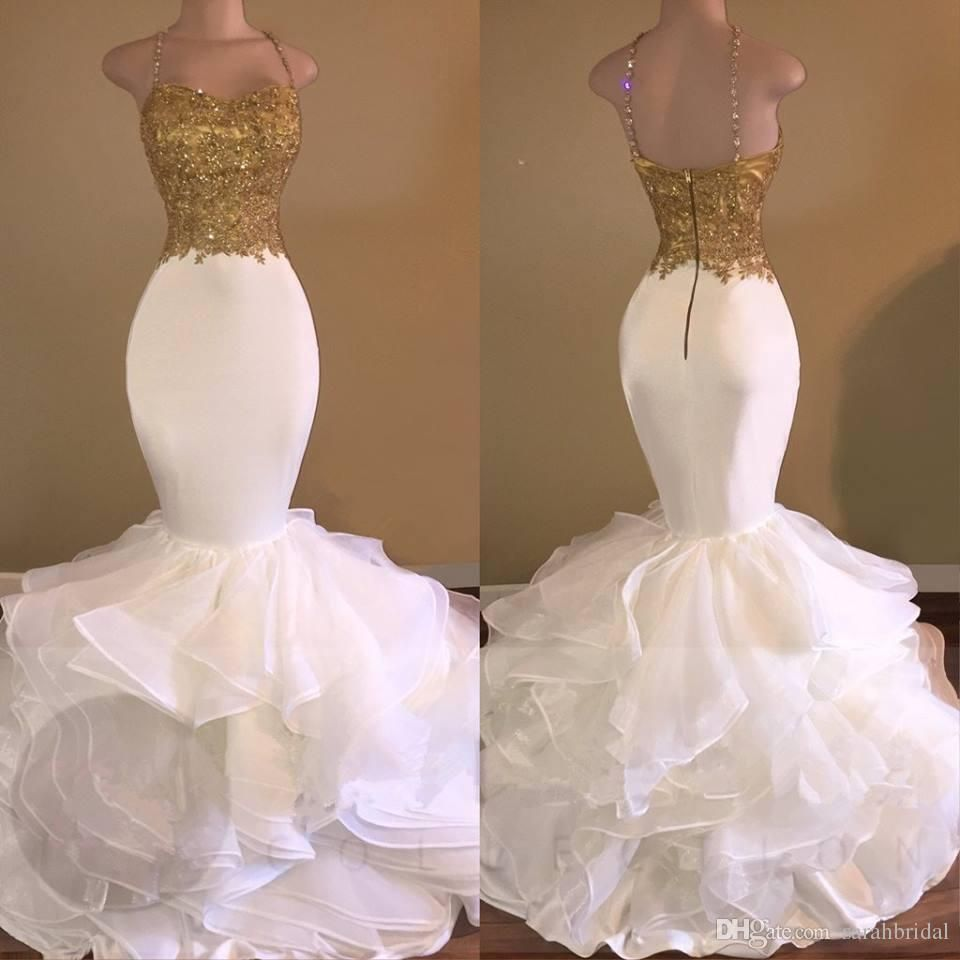 aso ebi sexy gold white ruffles lace mermaid prom dresses