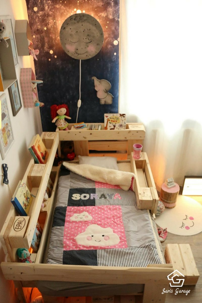 palettenbett f r kinder kinderbett aus europaletten diy anleitung pinterest selber. Black Bedroom Furniture Sets. Home Design Ideas