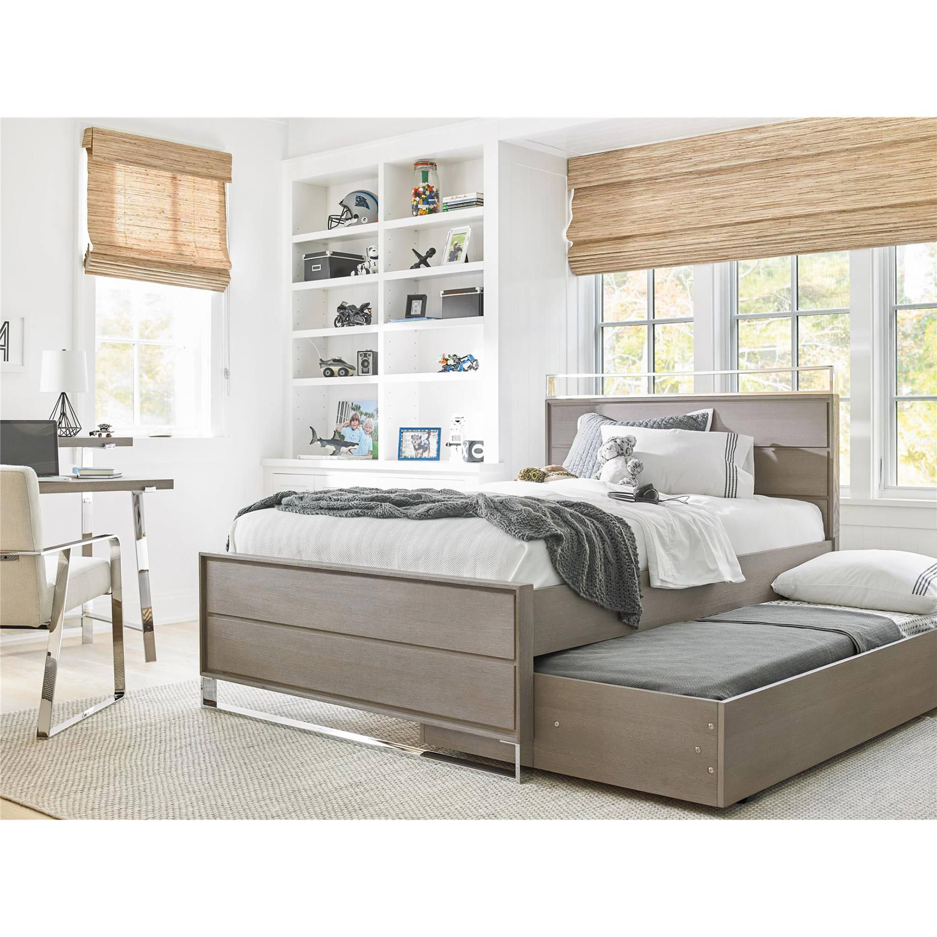 Brian Modern Grey Metal Accent Wood Trundle Bed Twin in