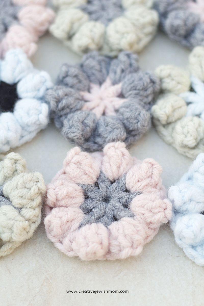 Simple Crocheted Flower Pattern Using The Popcorn Stitch | Popcorn ...