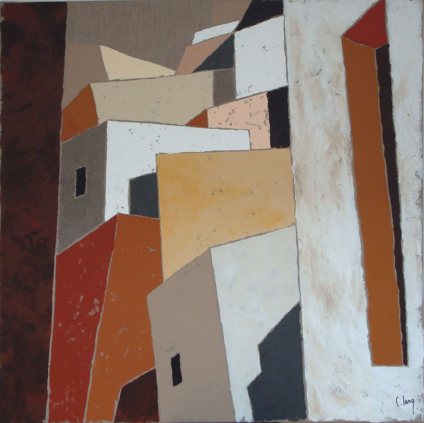 """chalang.wordpress... .""""Terres du sud""""mix media 80 x80cm by Chantal Lang"""