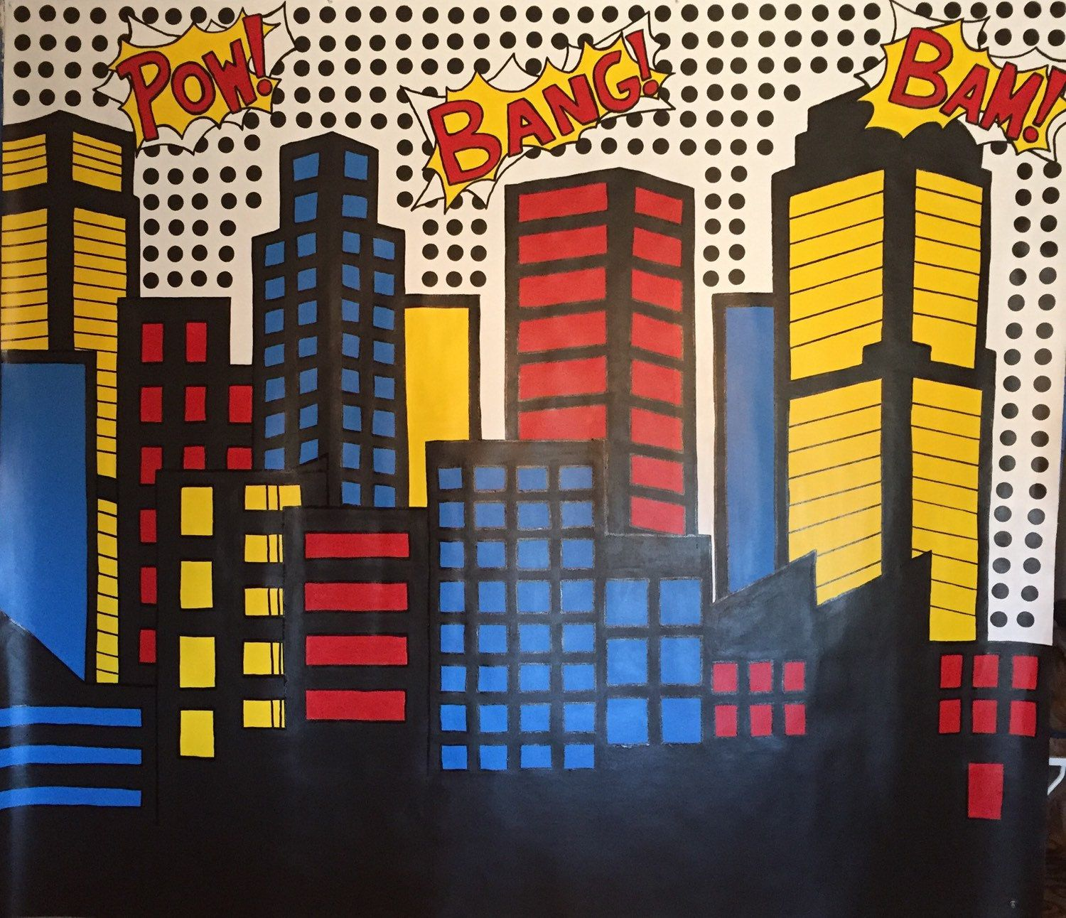 Backdrop superhero party printables batman background backdrop - Foam Superhero Backdrop Tutorial Lots Of Party Ideas You Can Adapt For A