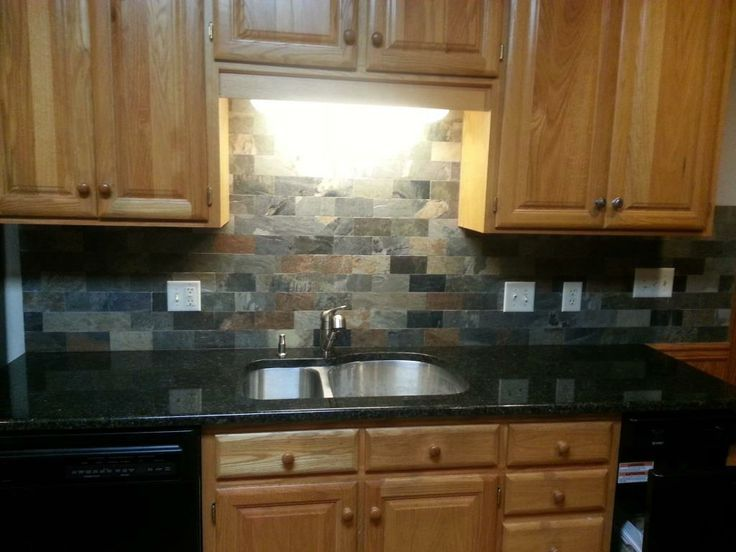 uba tuba on oak cabinets with backsplash | Uba Tuba Granite  Countertops-30/70