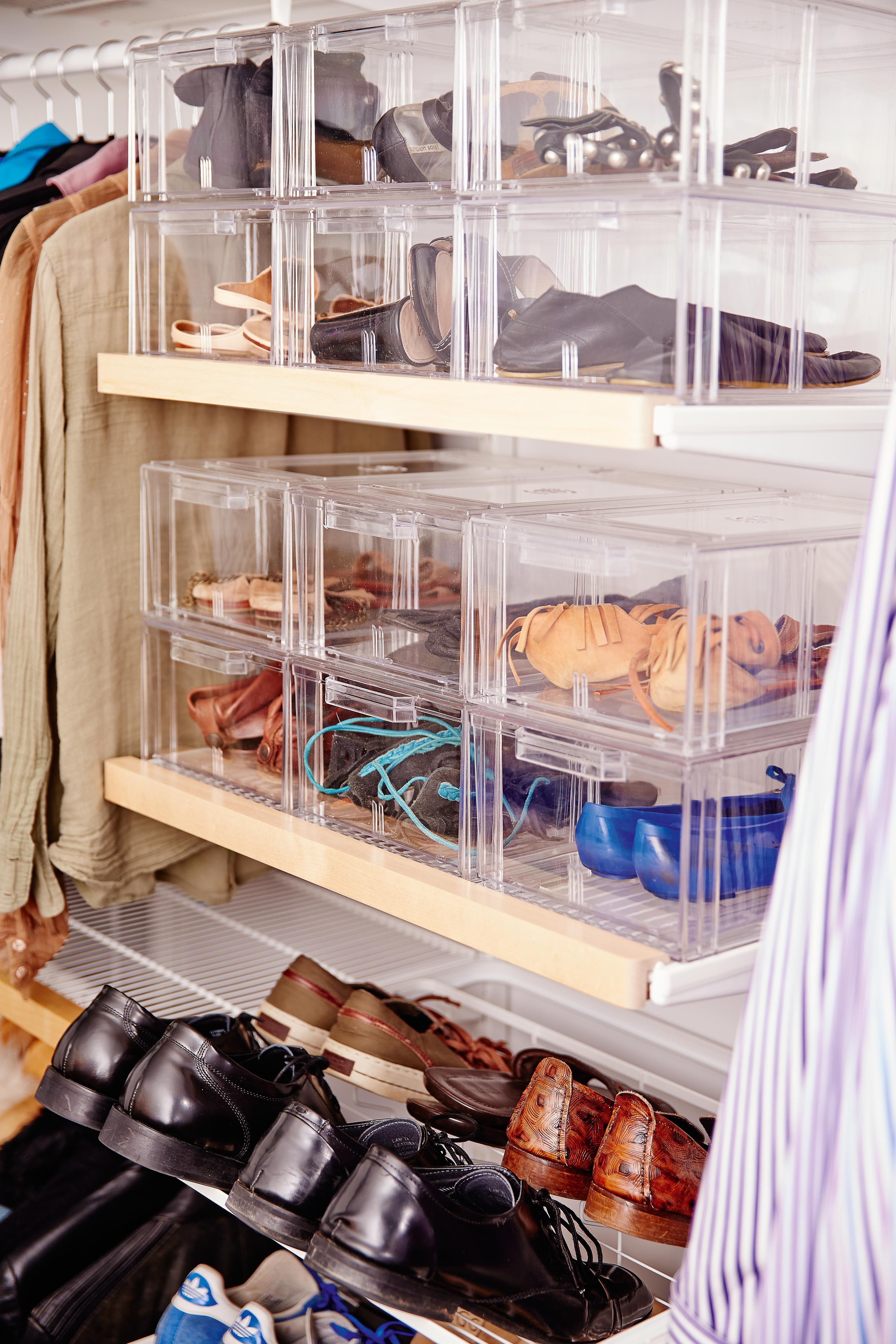 Charming Shoe Storage, Elfa White Gliding Shoe Shelf, Shoes Are Easily Visible And  Accessible. Large Clear Shoe Boxes. Available From Howards Storage World.