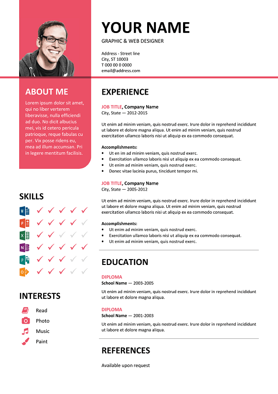 Bayview Free Resume Template Microsoft Word  Pink Layout