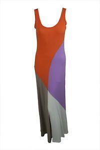Make a similar dress/top with thriftstore sweaters ~ Rolando Santana Womens Orange Color Block Sleeveless Maxi Dress $285 New   eBay