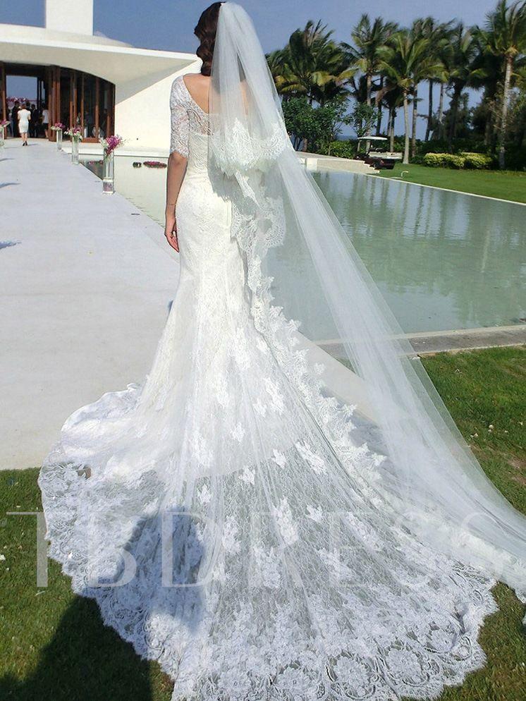 Off the Shoulder Half Sleeve Mermaid Lace Wedding Dress