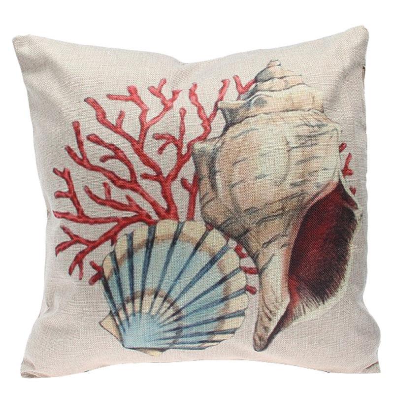 Seaside Beach Linen Cotton Throw Pillow Case Cushion Cover Home Sofa Decor