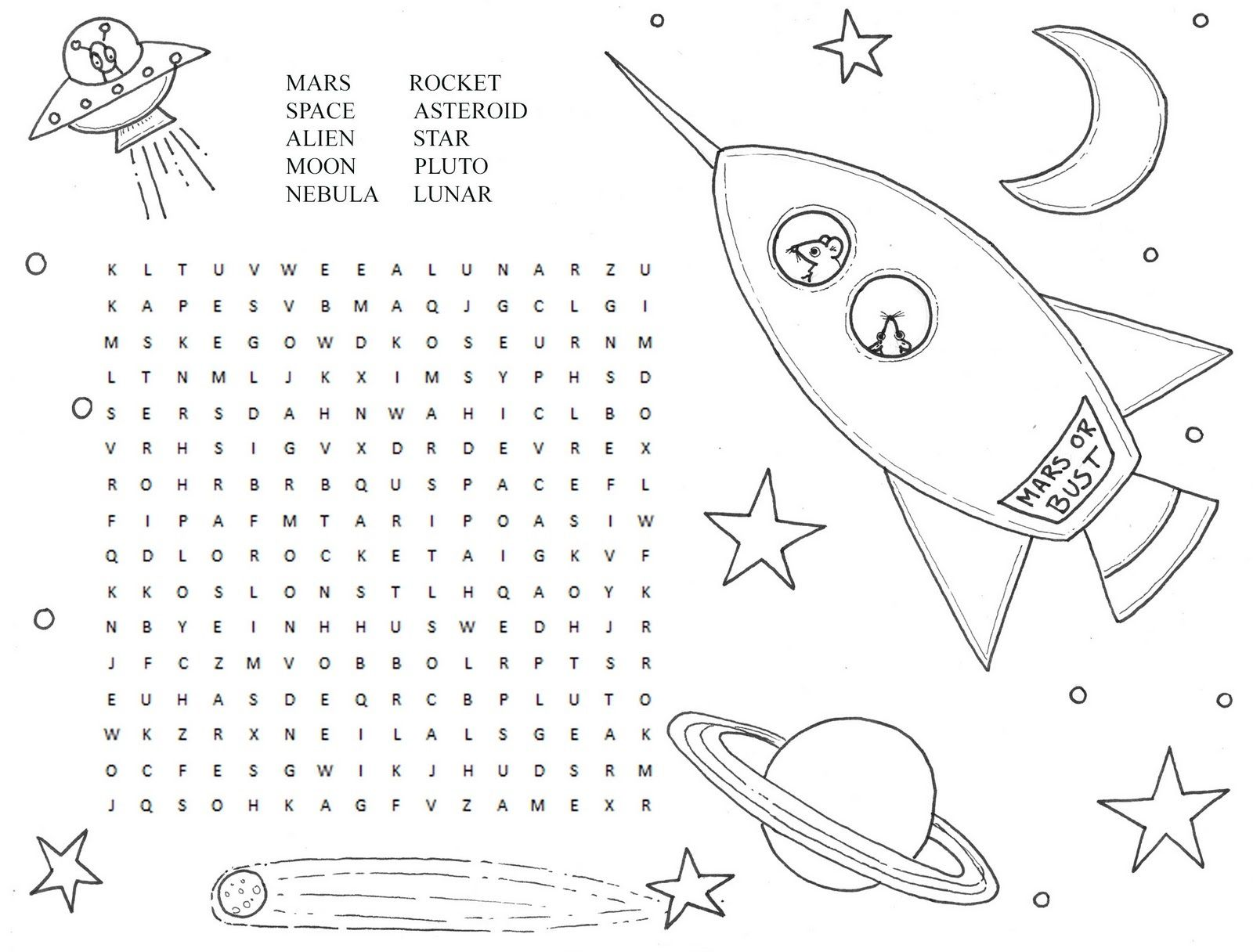 Image Result For Space Word Search