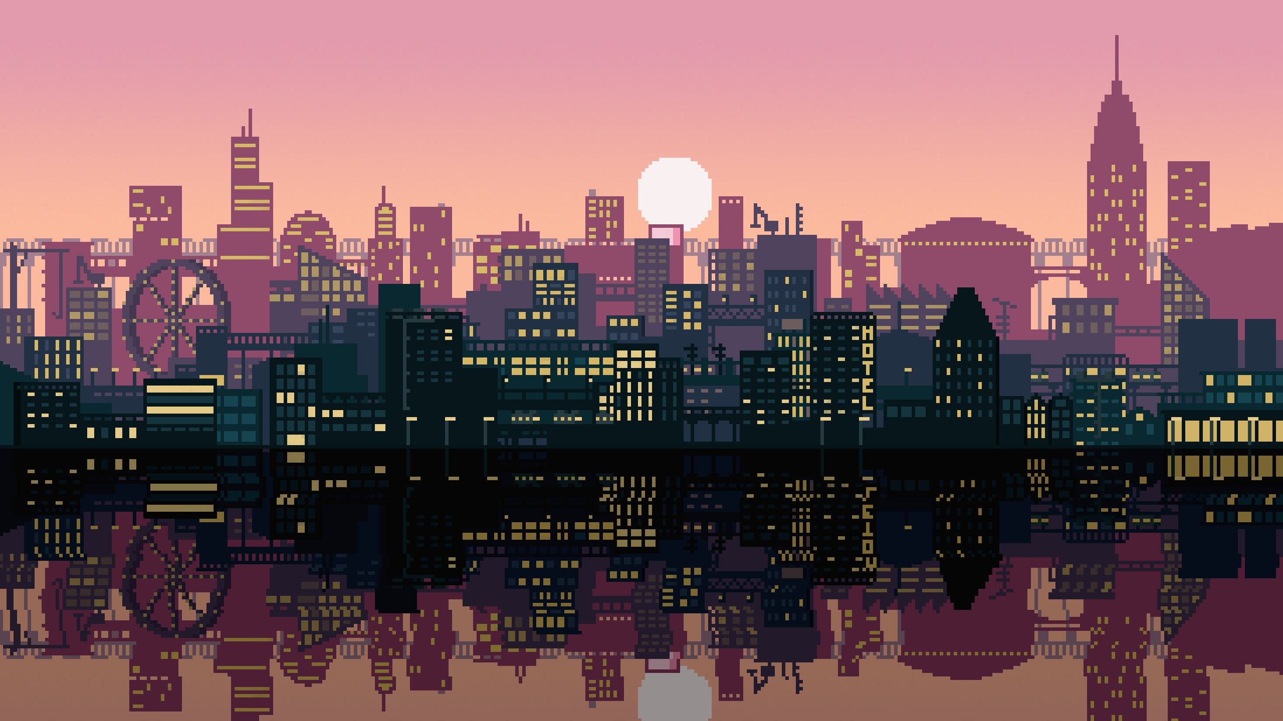 Pixel Art City [2560x1440][OC] | WALLPAPERS in 2019 ...