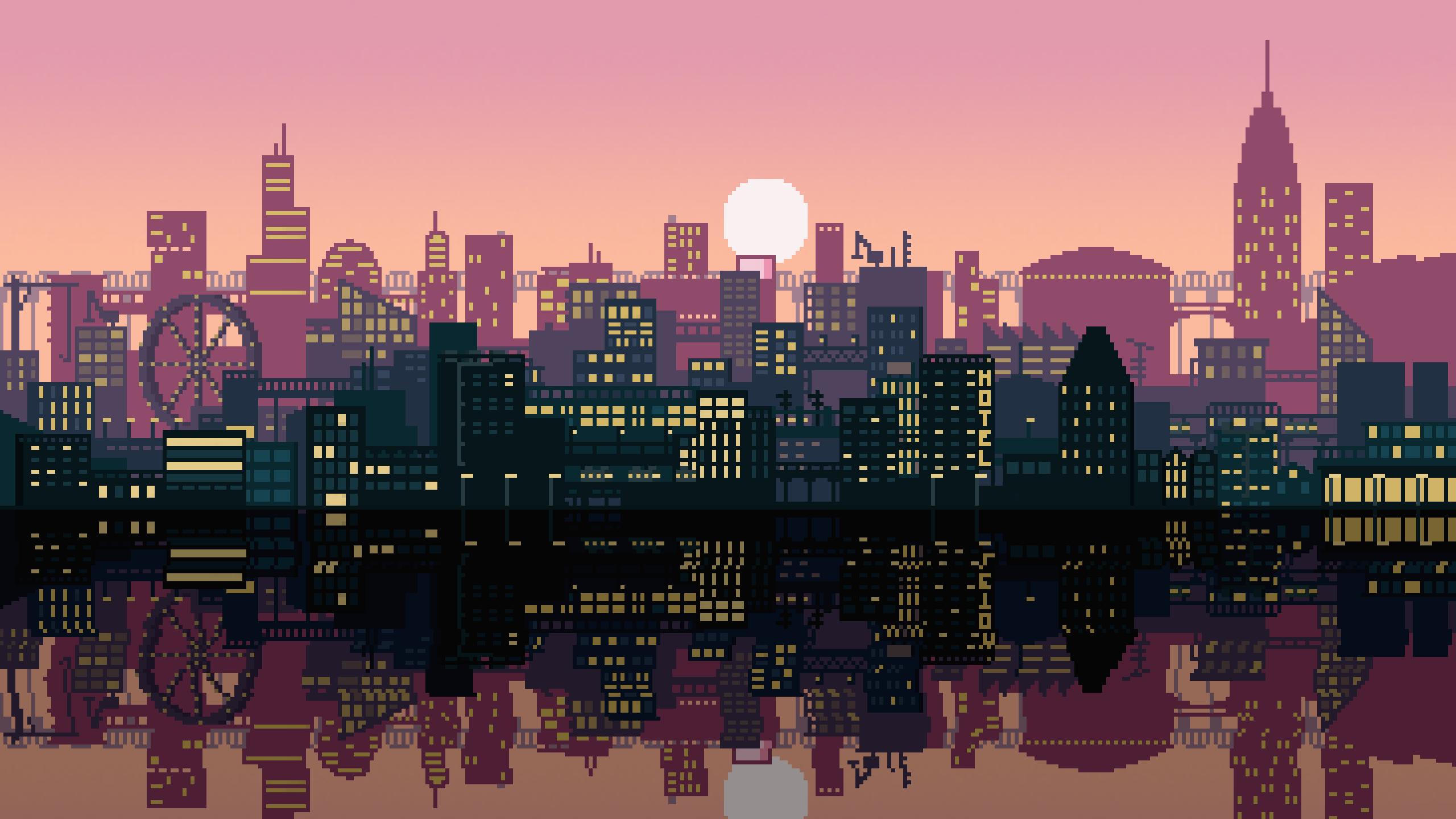 Pixel Art City 2560x1440 Oc Desktop Wallpaper Art Aesthetic Desktop Wallpaper Pixel City