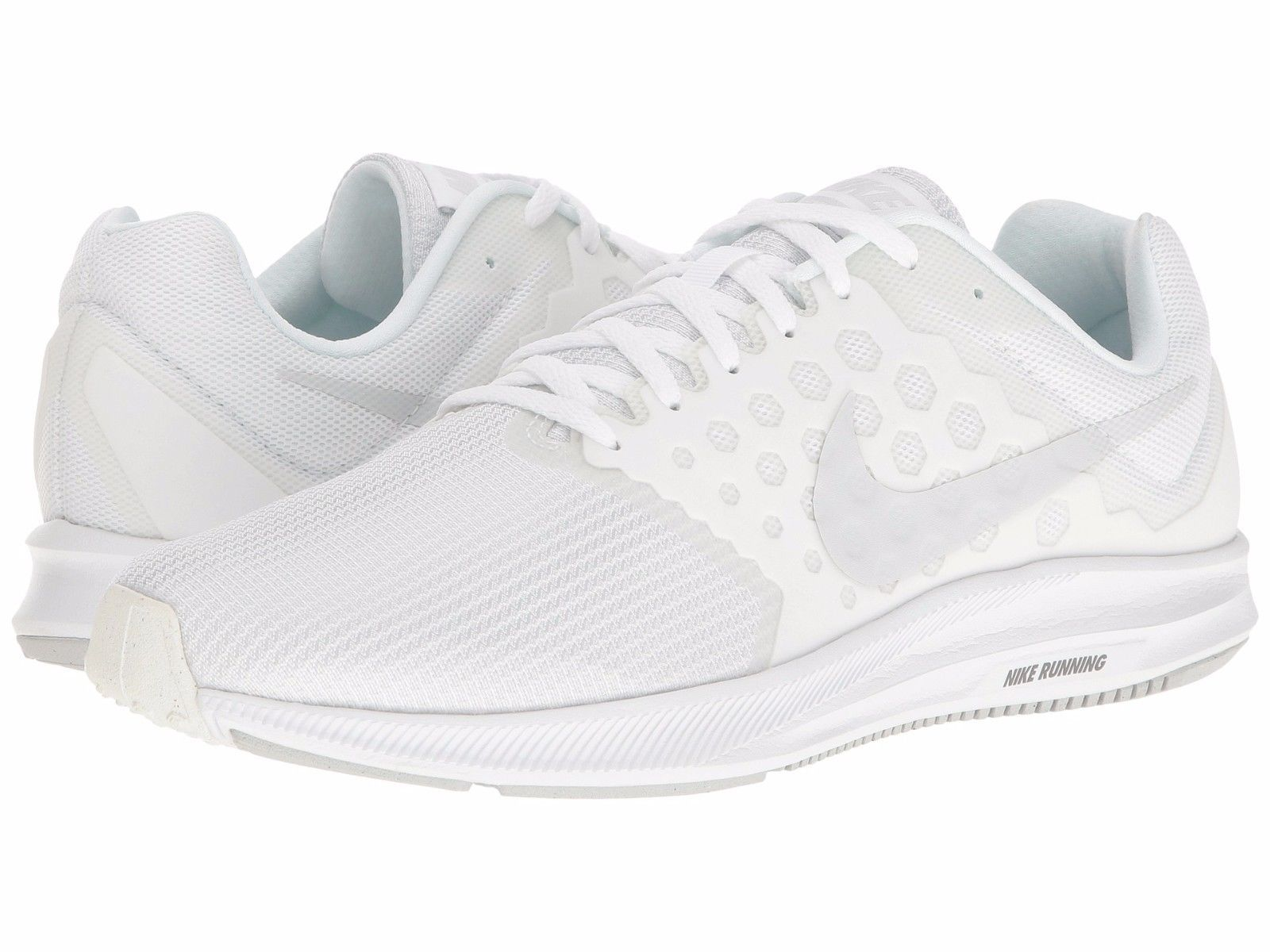 Nike DOWNSHIFTER 7 Mens White 100 Lace Up Athletic Mesh Training Running  Shoes