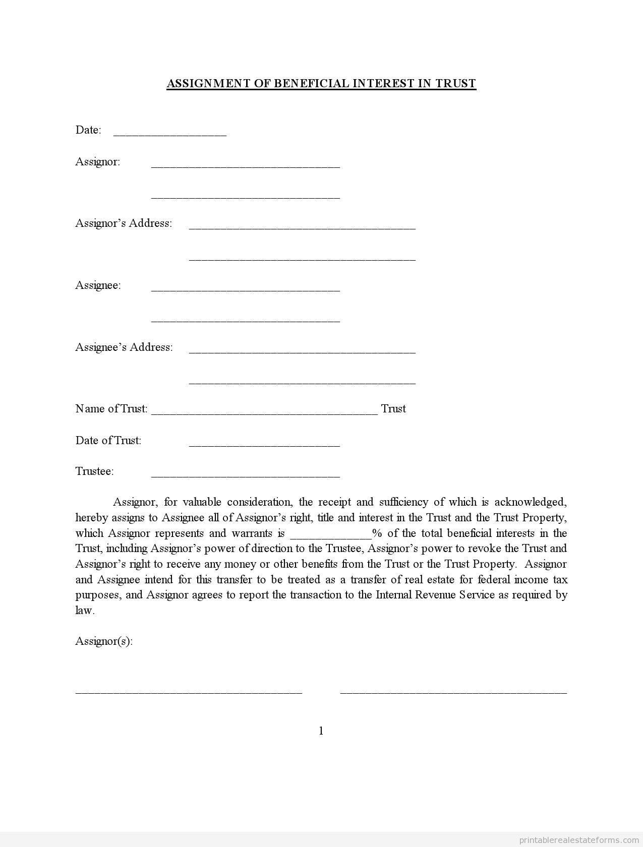 Printable Trustassignment Of Benificial Interest Template
