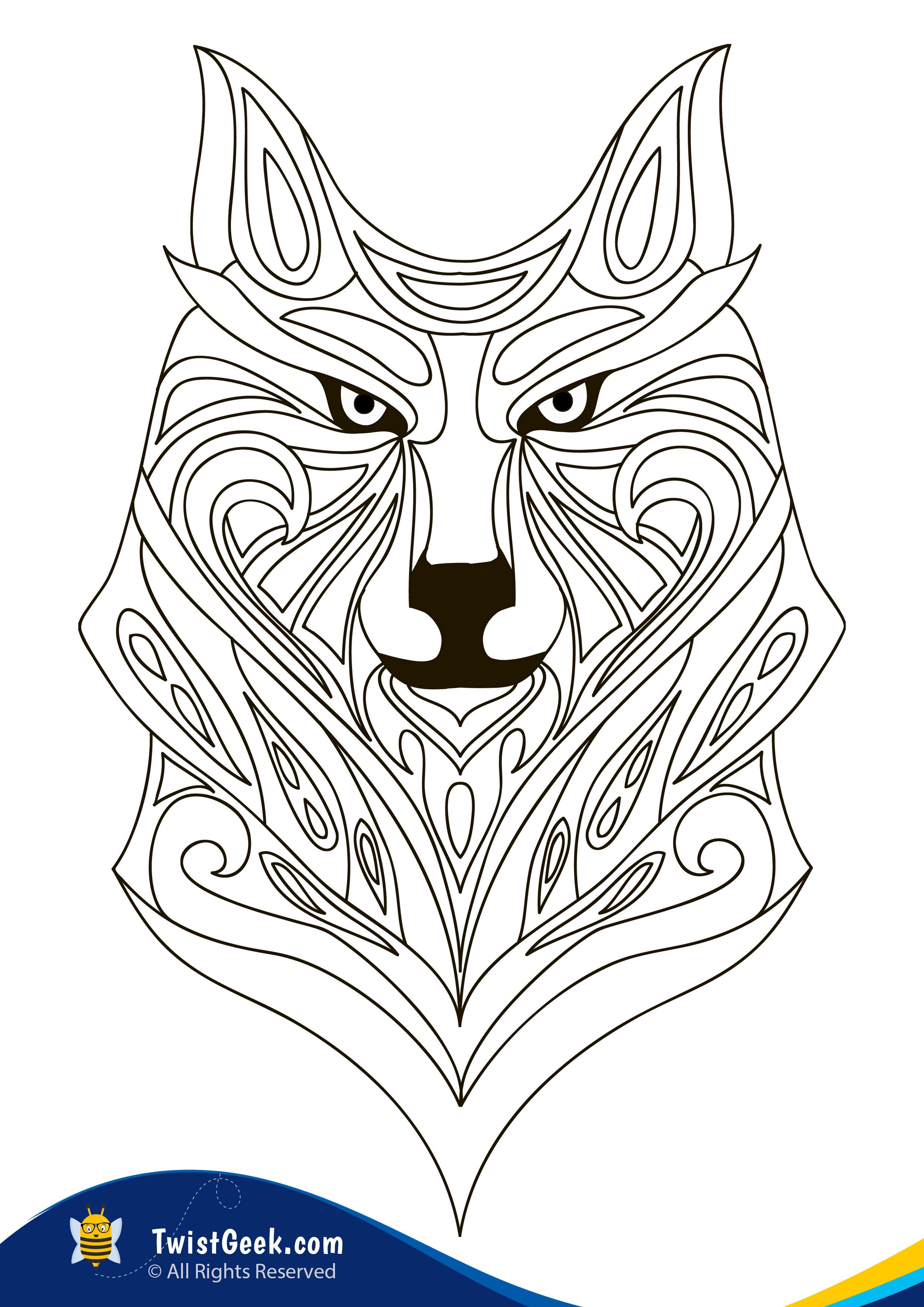 A4 Wolf Mandala Coloring Pages For Adults - TwistGeek in ...