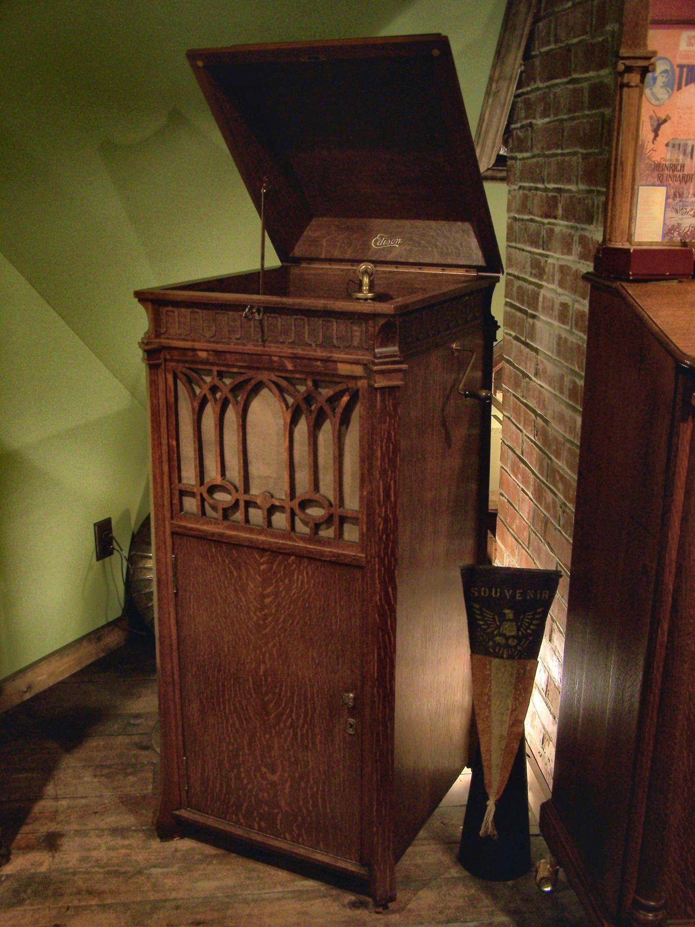 Edison Upright Disc Phonograph Cabinet In Oak 1917