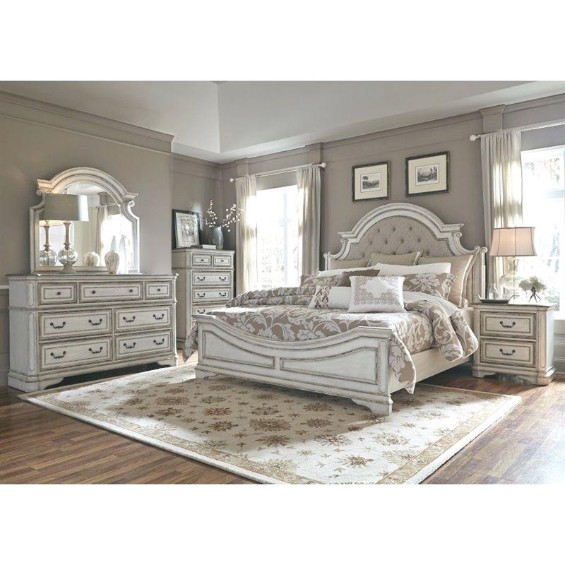 Antique White Traditional 4 Piece Queen Bedroom Set