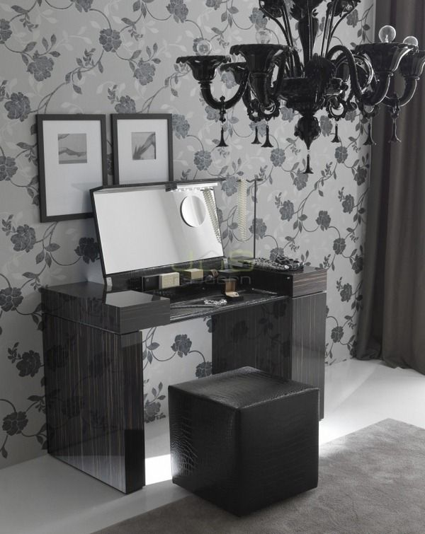 dressing table ideas design high-gloss black wood grain folding mirror  Nightfly Rossetto Furniture