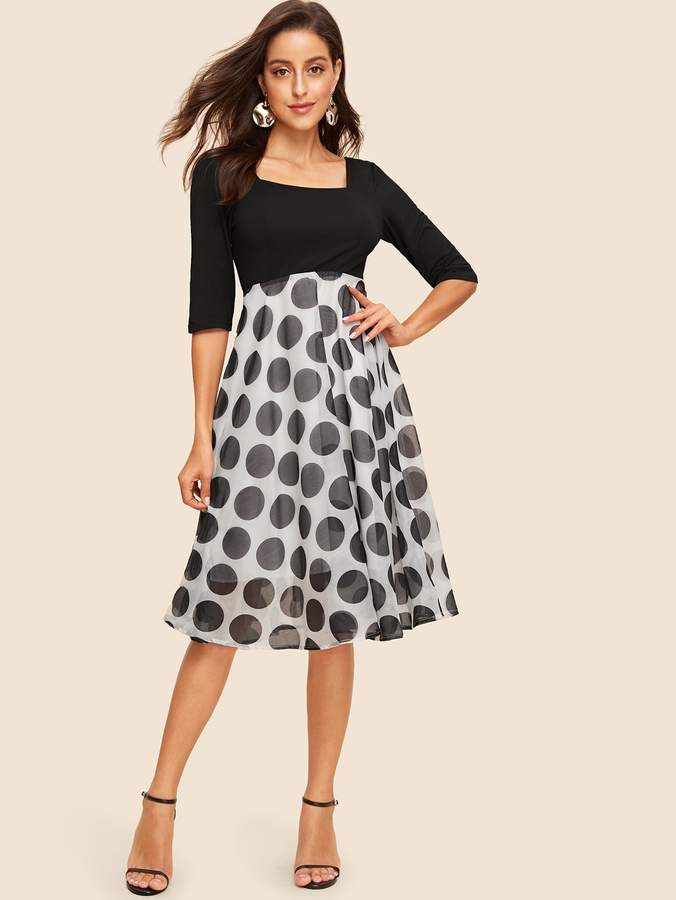 1c27068d9064e Shein 60s Square Neck Polka Dot Fit & Flare Dress in 2019 | Products ...