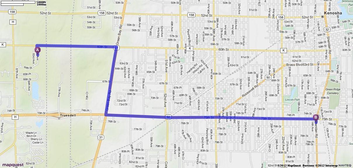 Driving Directions from 6141 82nd Ave, Kenosha, Wisconsin 53142 to 7546 Sheridan Rd, Kenosha, Wisconsin 53143 | MapQuest