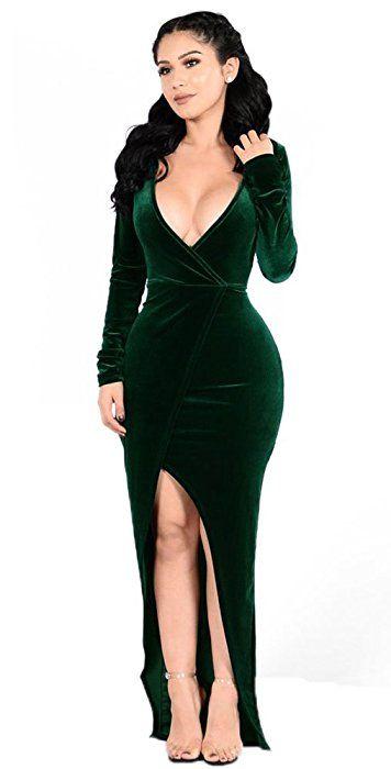 Women\'s V Neck Maxi Prom Dress with Front Split Dark Green XXL ...