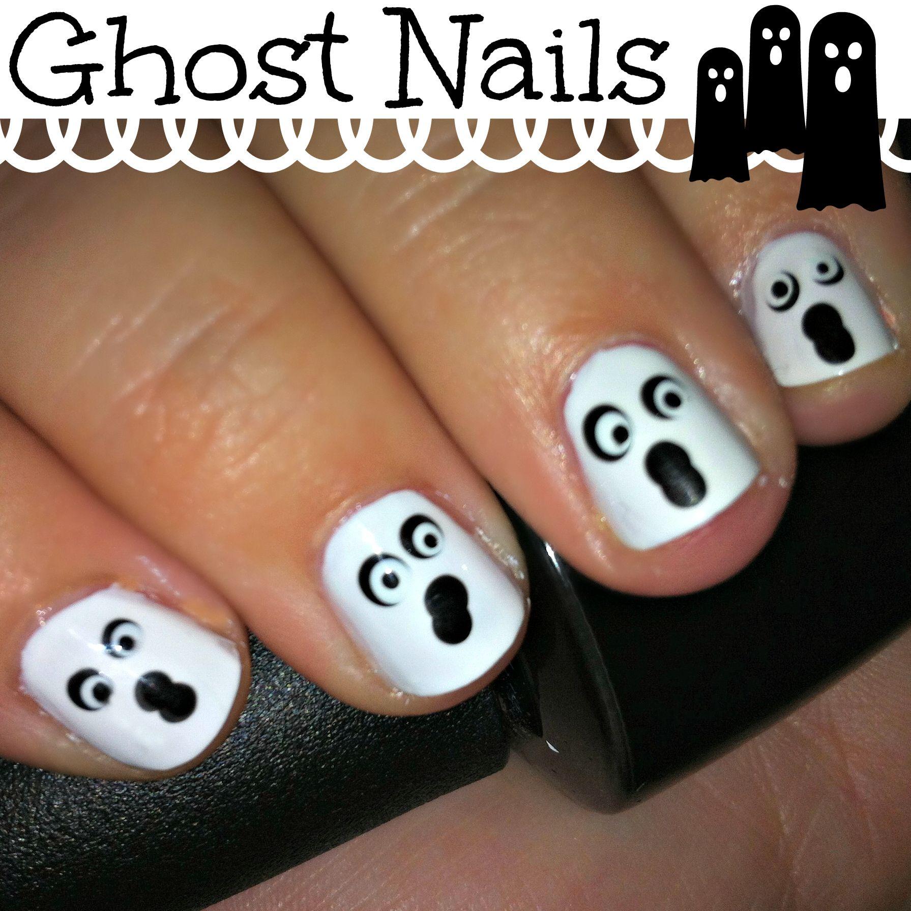 Halloween Ghost Nail Art Nails, Halloween nails, Fun nails
