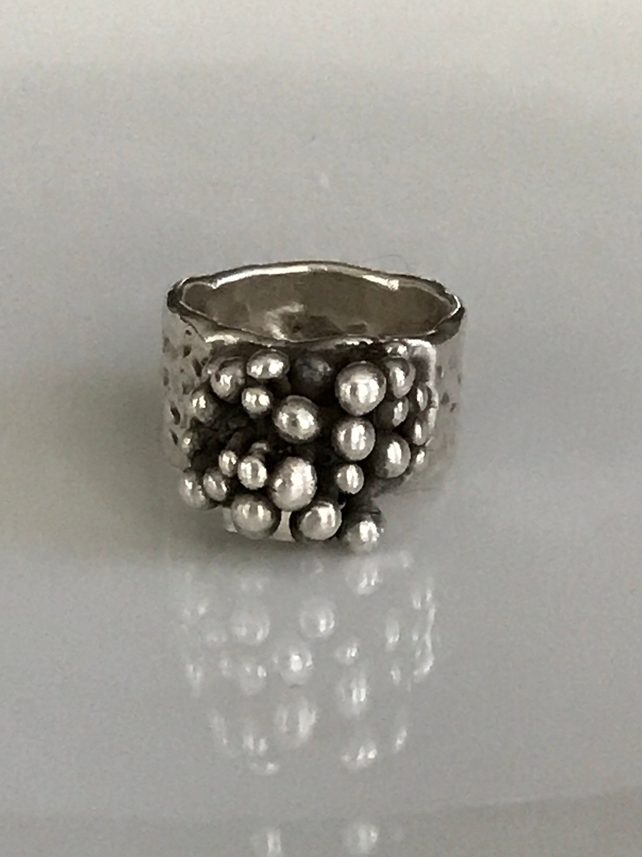 Denmark Vintage Mid Century Brutalist Sterling Silver Ring Marked EBH Egon Bernhardt Hammeken
