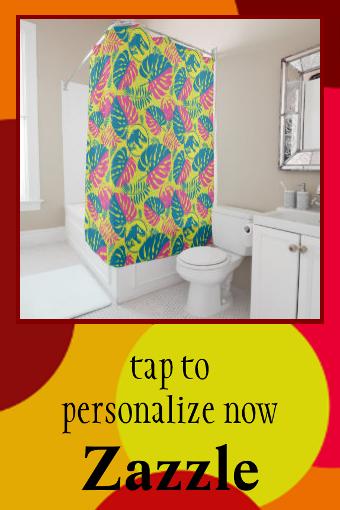 Jurassic World | Pink & Yellow Jungle Pattern Shower Curtain | Zazzle.com #junglepattern