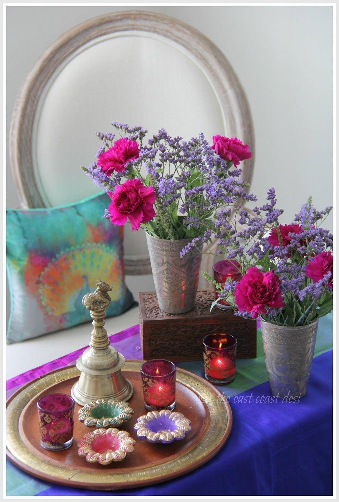 Festivals And Enthusiasm Go Hand In Hand When You Are Headed Towards The Festival Season It Is But Center Table Decor Colourful Living Room Decor Brass Decor
