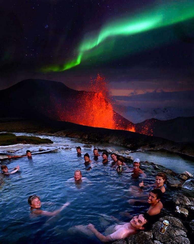 Icelandu0027s hot tub with northern lights and volcano Von Wanderlust - new blueprint alberta northern lights
