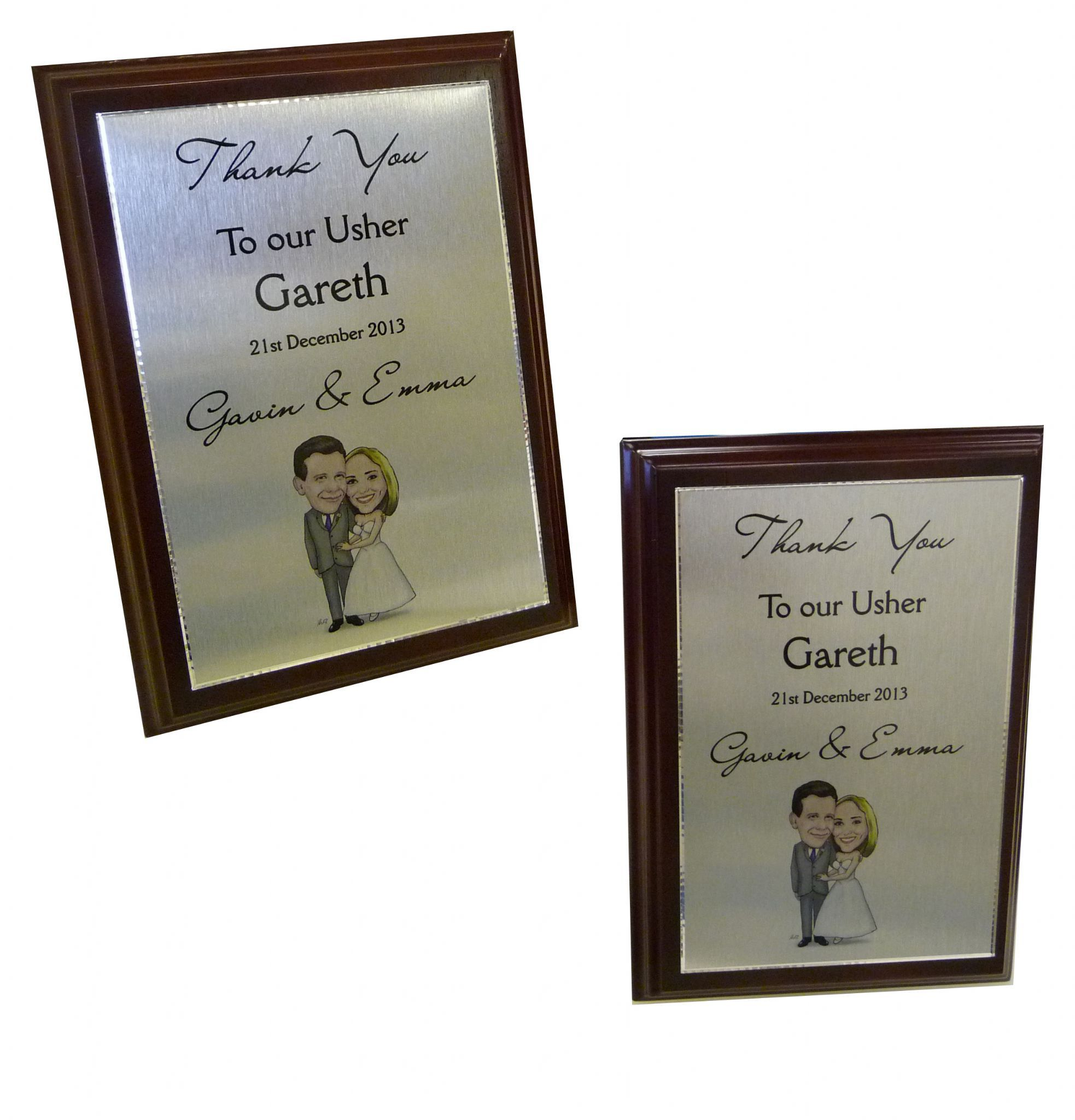 Trophy Or Thank You Plaque For Best Man Ushers Wedding Gift Metal Mounted On
