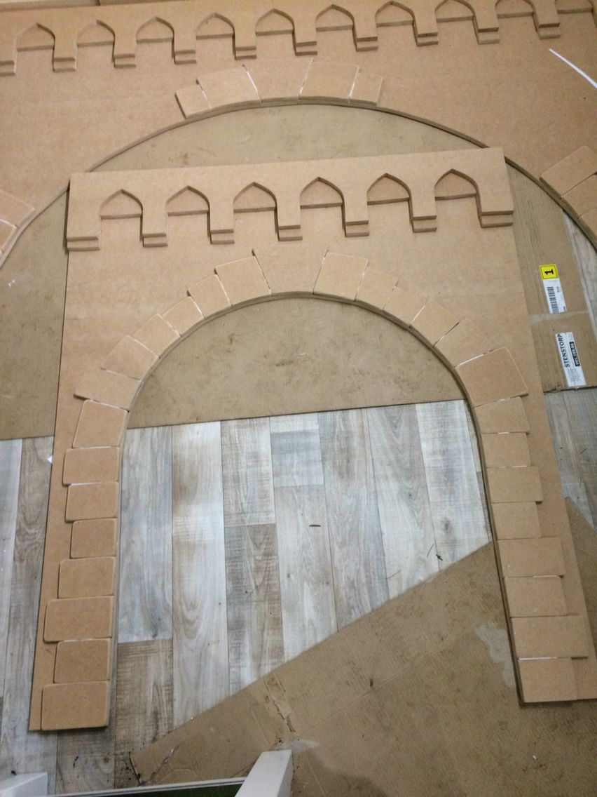 daughters request make it look like a castle progress shot making the arches for the side and end of the bed