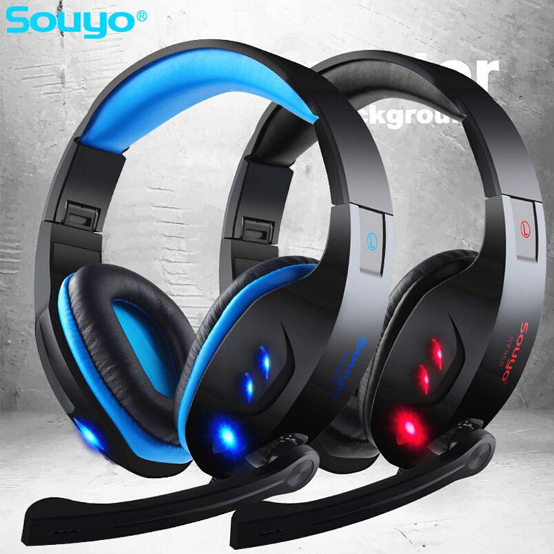 Find More Earphones & Headphones Information about SOUYO IN968 LED USB Gaming Headset with Mic for Gamer Wired Headphone with Mic Volume Control Noise Cancelling Mic Earphone PC,High Quality headset television,China headset stand Suppliers, Cheap headset amplifier from GLAUPSUS store on Aliexpress.com