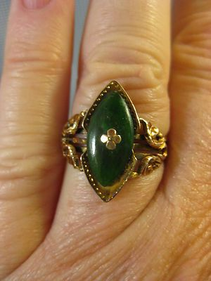 18K Gold ~ VICTORIAN JADE RING ~ Size 7