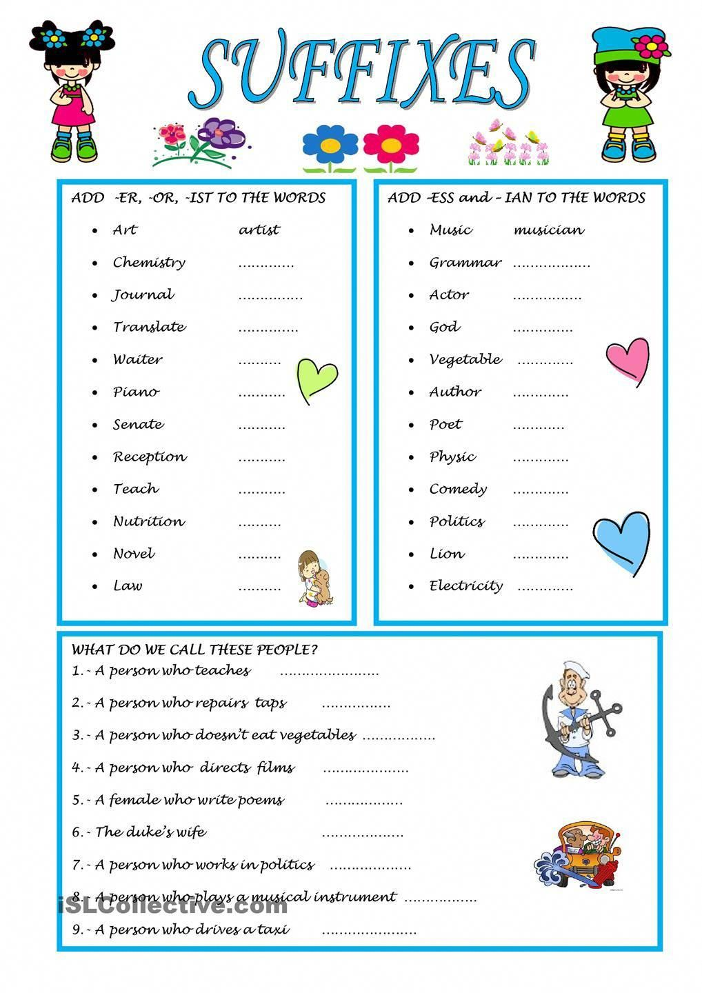 Suffixes Formationanglais Prefixes And Suffixes Suffixes Worksheets Word Puzzles For Kids [ 1440 x 1018 Pixel ]